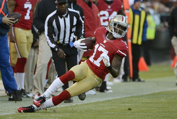 SAN FRANCISCO, CA - AUGUST 30:  A.J. Jenkins #17 of the San Francisco 49ers slips out of bounds on a reverse play against the San Diego Chargers in the first quarter of an NFL pre-season football game at Candlestick Park on August 30, 2012 in San Francisc