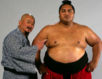 Mr. Fuji with Yokozuna (Photo from WWE.com)