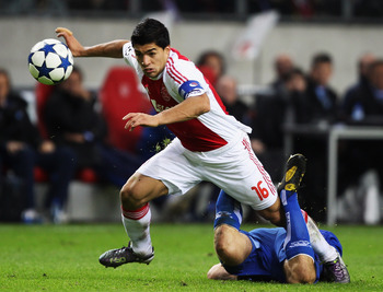 Luis Suarez in Champions League action while at Ajax.