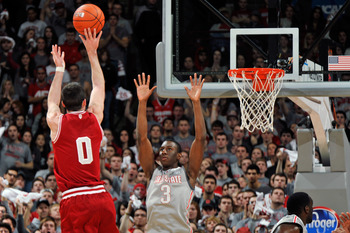 Will Sheehey taking a jump shot vs. Ohio State