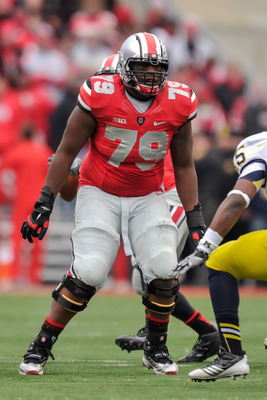 Marcus Hall is one of the four returning starters on the Buckeyes' offensive line, but is the most improved.