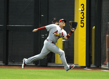 Allen Craig locks in a fly ball in right field against the Diamondbacks on April 2.