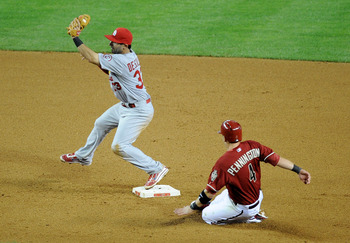 Cardinals' second baseman Daniel Descalso gets the force out against the Diamondbacks on April 3.