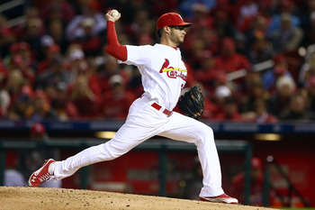 Joe Kelly fires a pitch in Game Five of the NLCS against San Francisco.