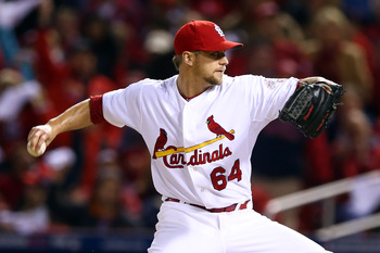 Trevor Rosenthal fires a pitch home in Game Five of the NLCS against San Francisco.