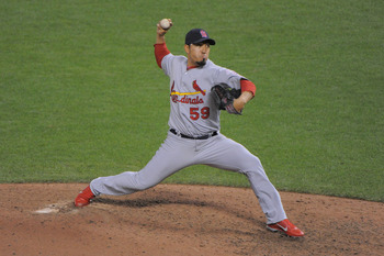 Fernando Salas fires home in an NLCS game against San Francisco.