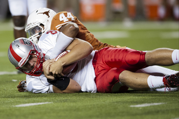 Defensive end Jackson Jeffcoat was one of many Longhorns who did not play in the spring game as the result of injury.