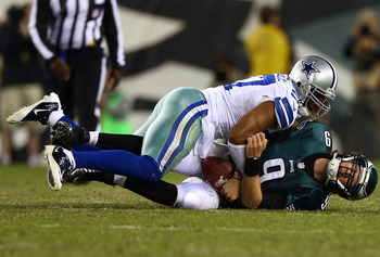 PHILADELPHIA, PA - NOVEMBER 11:  Nick Foles #9 of the Philadelphia Eagles is sacked by Victor Butler #57 of the Dallas Cowboys on November 11, 2012 at Lincoln Financial Field in Philadelphia, Pennsylvania.The Dallas Cowboys defeated the Philadelphia Eagle