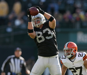 OAKLAND, CA - DECEMBER 02:  Brandon Myers #83 of the Oakland Raiders in action against the Cleveland Browns at O.co Coliseum on December 2, 2012 in Oakland, California.  (Photo by Ezra Shaw/Getty Images)