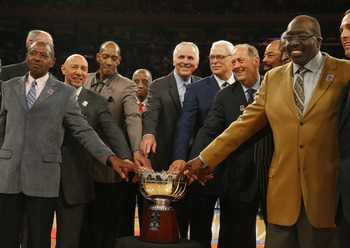 The New York Knicks celebrated the 40th anniversary of the 1972-73 team on April 5 during halftime of the Atlanta Hawks game. Yep, that's Phil Jackson.