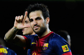 BARCELONA, SPAIN - APRIL 06:  Cesc Fabregas of FC Barcelona celebrates after scoring his team's third goal during the La Liga match between FC Barcelona and RCD Mallorca at Camp Nou on April 6, 2013 in Barcelona, Spain.  (Photo by David Ramos/Getty Images