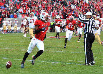 Nov 24, 2012  Raleigh, NC, USA. North Carolina State Wolfpack cornerback David Amerson (1) scores a touchdown after returning an interception against the Boston College Eagles during the first half at Carter-Finley Stadium.  Mandatory Credit: Rob Kinnan-U