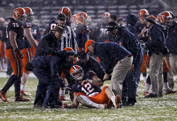 Nassib gets helped up from the turf in the Pinstripe Bowl.