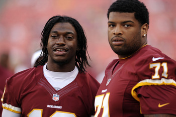 Washington Redskins QB Robert Griffin III with Trent Williams during the 2012 preseason.