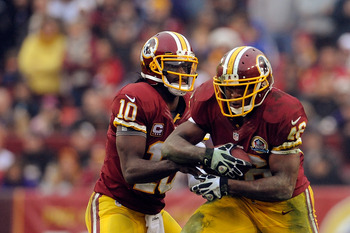 The 2012 stars of the Washington Redskins' offense—QB Robert Griffin III and RB Alfred Morris.