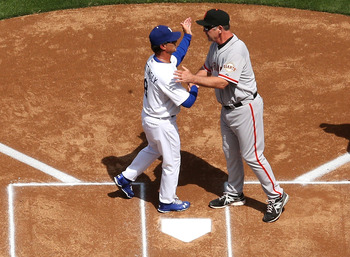 A cordial hello between Don Mattingly and Bruce Bochy for what can sometimes be a very heated rivalry.