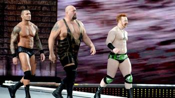 Randy Orton, Big Show and Sheamus make their way to the ring. Photo by: WWE