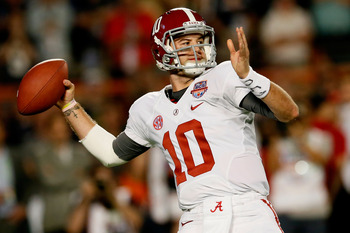 AJ McCarron loads up a pass against Notre Dame.