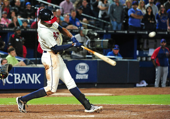 B.J. Upton hit his first homer in Atlanta's 6-5 win on April 6.