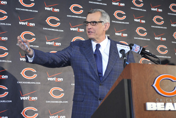 Jan 17, 2013; Lake Forest, IL, USA; Chicago Bears  general manager Phil Emery introduces new head coach Marc Trestman during a press conference at Halas Hall.  Mandatory Credit: David Banks-USA TODAY Sports