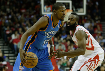 There's no love lost between Durant (left) and Harden (right).