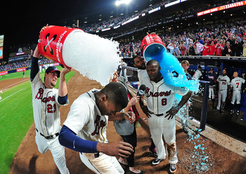 This was the scene in Atlanta after B.J. and Justin Upton hit HRs in the ninth inning against the Cubs.