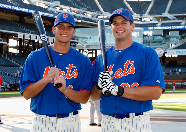 NEW YORK, NY - JUNE 15:  The New York Mets first rounds picks(L-R) Gavin Cecchini #2 and Kevin Plawecki #26 pose for a photo during batting practise at Citi Field on June 15, 2012 in the Flushing neighborhood of the Queens borough of New York City.  (Phot