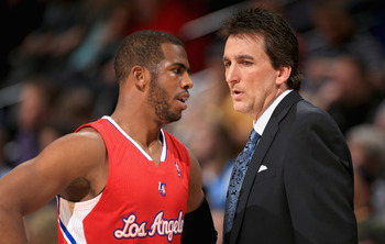 DENVER, CO - MARCH 07:  Head coach Vinny Del Negro of the Los Angeles Clippers talks to Chris Paul #3 of the Los Angeles Clippers as they face the Denver Nuggets at the Pepsi Center on March 7, 2013 in Denver, Colorado. The Nuggets defeated the Clippers 1
