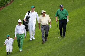 Gary Player, Arnold Palmer and Jack Nicklaus are THE featured group at the Masters' annual Par 3 Contest.
