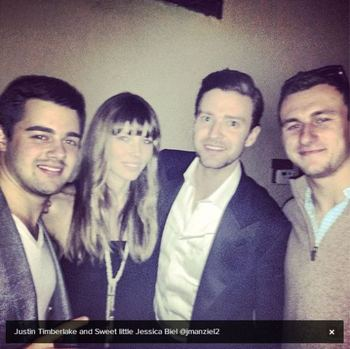 Johnny Manziel (right) with Jessica Biel and Justin Timberlake (middle)