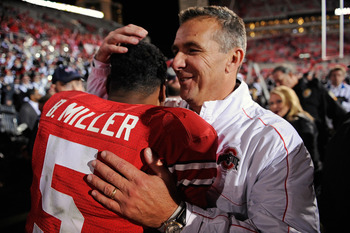 Starting quarterback Braxton Miller and head coach Urban Meyer after defeating Nebraska 63-38 on Oct. 6.