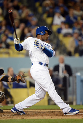 Carl Crawford taking a swing against the Pirates