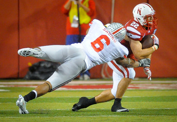 Sabino leaves his feet to make a tackle against Nebraska.