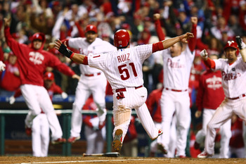 Just one of Ruiz's walk-off moments came in the 2009 World Series against the Yankees.