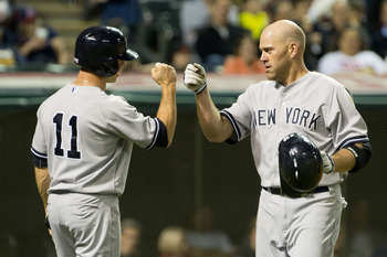 Brett Gardner congratulates Kevin Youkilis during the April 9 game against the Cleveland Indians