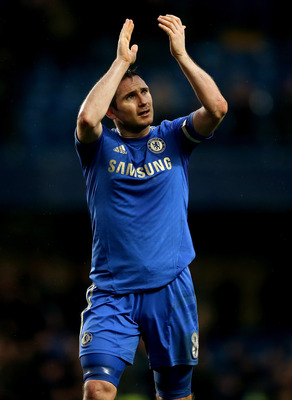 LONDON, ENGLAND - MARCH 17:  Frank Lampard of Chelsea during the Barclays Premier League match between Chelsea and West Ham United at Stamford Bridge on March 17, 2013 in London, England.  (Photo by Scott Heavey/Getty Images)
