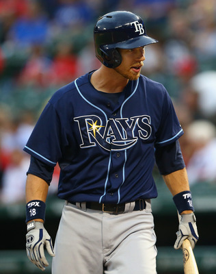 Rays' Ben Zobrist arguing a strike three call to end Monday's game against the Rangers.