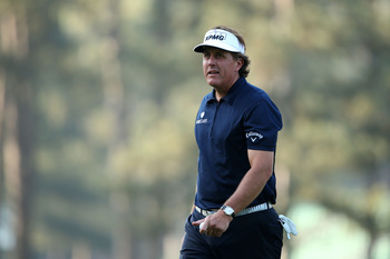 Phil Mickelson tees off late Thursday in search of his fourth green jacket.