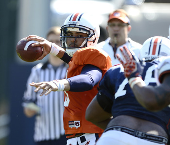 Kiehl Frazier in practice on April 10. Photo credit: Todd Van Emst / Auburn media relations