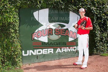 North Carolina prep righty Hunter Harvey has current stuff and plenty of projection to warrant a top-15 pick. Courtesy of FourSeamImages.com
