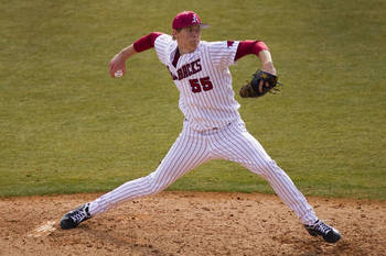 Arkansas' Ryne Stanek entered the season as the No. 2 pitcher available, but will be lucky to go in the top 20. Courtesy of Razorbackers.com