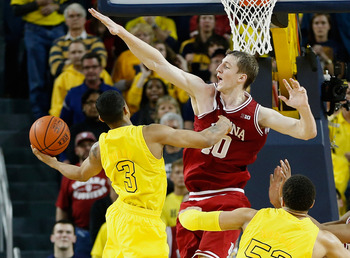 Michigan's Trey Burke going for the lay-in against Indiana