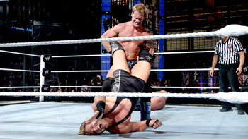 Chris Jericho Puts Jack Swagger in the Walls of Jericho Submission at Elimination Chamber 2013 (photo courtesy of WWE.com)