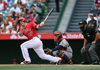 Mike Trout hit his first home run of the season on Sunday for the Angels.