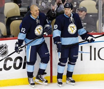 New Penguins Jarome Iginla and Brenden Morrow (Courtesy of Canoe.ca)