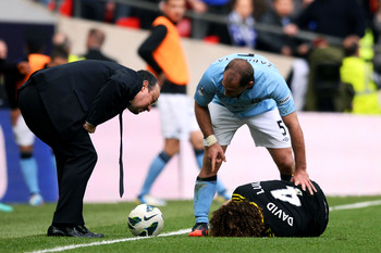 David Luiz feels the effects of Sergio Aguero's reckless tackle