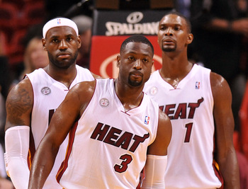 Miami Heat's LeBron James, Dwyane Wade, Chris Bosh