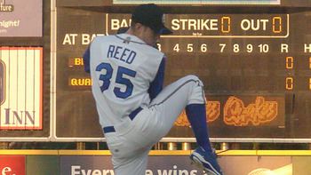 Poor command and lack of a third pitch will cripple Chris Reed on his way through the Dodgers' system. Courtesy of Rancho Cucamonga Quakes (h/t MiLB.com).
