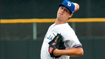 A poor delivery and inconsistent results make John Stilson look more like a bullpen arm than mid-rotation starter. Courtesy of Jim Goins, MiLB.com