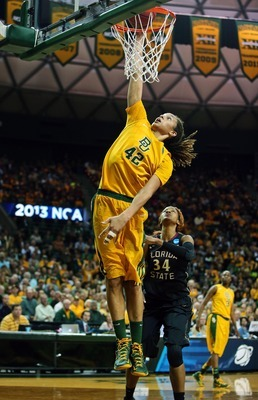 Mar 26, 2013; Waco, TX, USA; Baylor Bears center Brittney Griner (42) dunks during the first half against the Florida State Seminoles during the second round of the 2013 NCAA womens basketball tournament at the Ferrell Center. Mandatory Credit: Kevin Jair